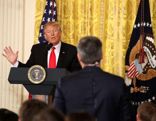 WASHINGTON, DC - FEBRUARY 16: U.S. President Donald Trump answers a question from CNN's Jim Acosta during a news conference announcing Alexander Acosta as the new Labor Secretary nominee in the East Room at the White House on February 16, 2017 in Washington, DC. The announcement comes a day after Andrew Puzder withdrew his nomination. (Photo by Mark Wilson/Getty Images)