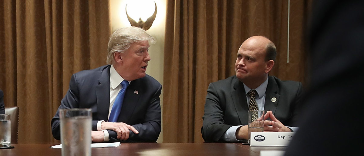 U.S. President Donald Trump meets with Rep. Tom Reed (R-NY), in the Cabinet Room of the White House September 13, 2017 in Washington, DC. Win McNamee/Getty Images