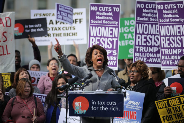 WASHINGTON, DC - NOVEMBER 01: Rep. Maxine Waters (D-CA) addresses a rally against the Republican tax plan outside the U.S. Capitol November 1, 2017 in Washington, DC. The rally was organized by Patriotic Millionaires, left-wing group of weathy people who support political representation for all citizens and believe that the rich should shoulder a greater burden of taxes. (Photo by Chip Somodevilla/Getty Images)