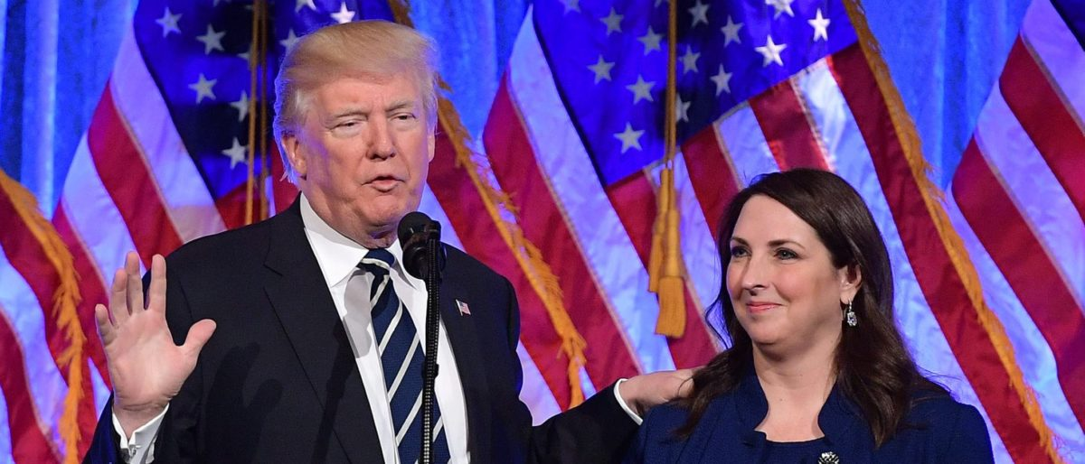US President Donald Trump speaks after his introduction by RNC Chairwoman Ronna Romney McDaniel at a fundraising breakfast in a restaurant in New York, New York on December 2, 2017. MANDEL NGAN/AFP/Getty Images