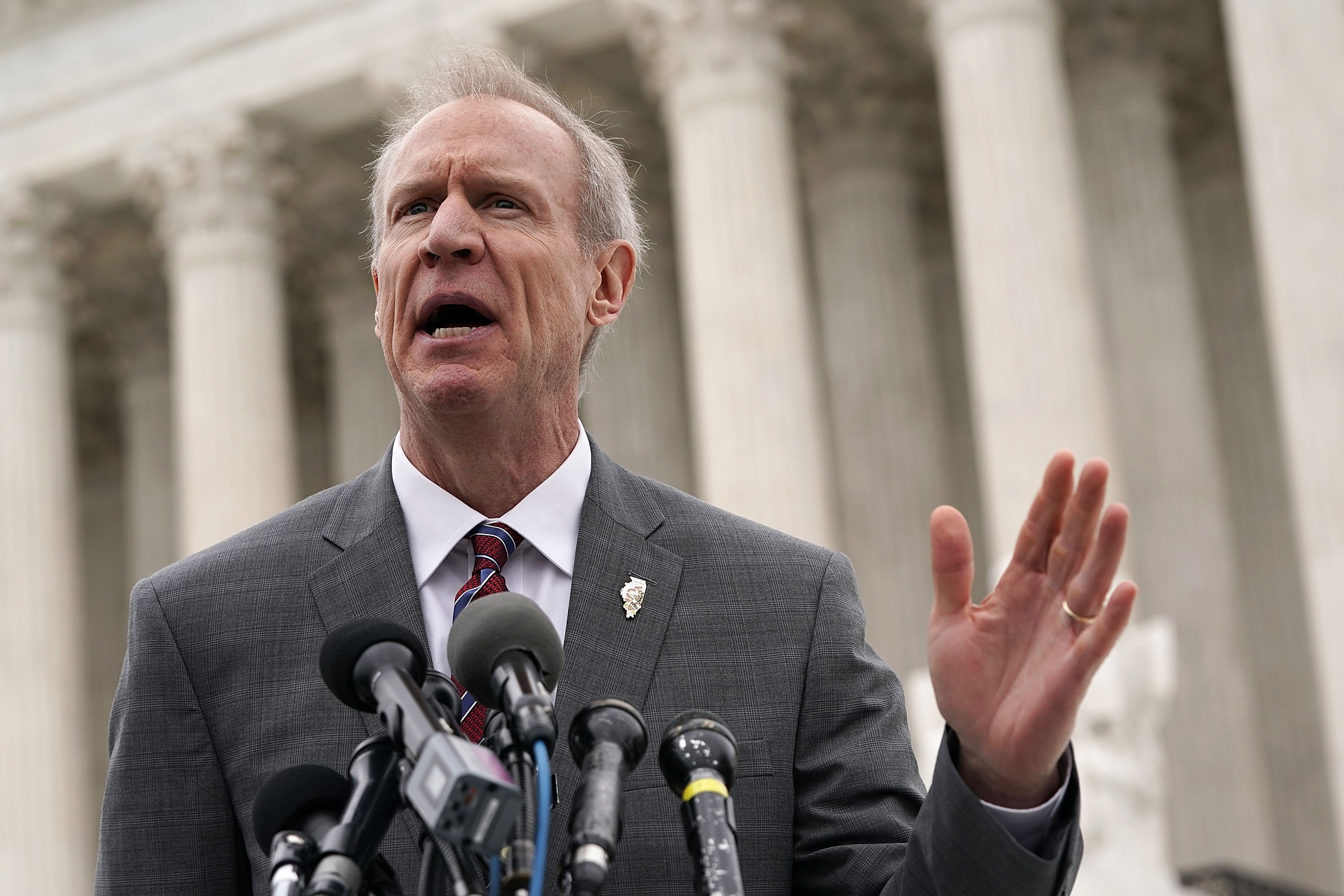 Governor of Illinois Bruce Rauner speaks to members of the media in front of the U.S. Supreme Court after a hearing on February 26, 2018 in Washington, DC. Alex Wong/Getty Images