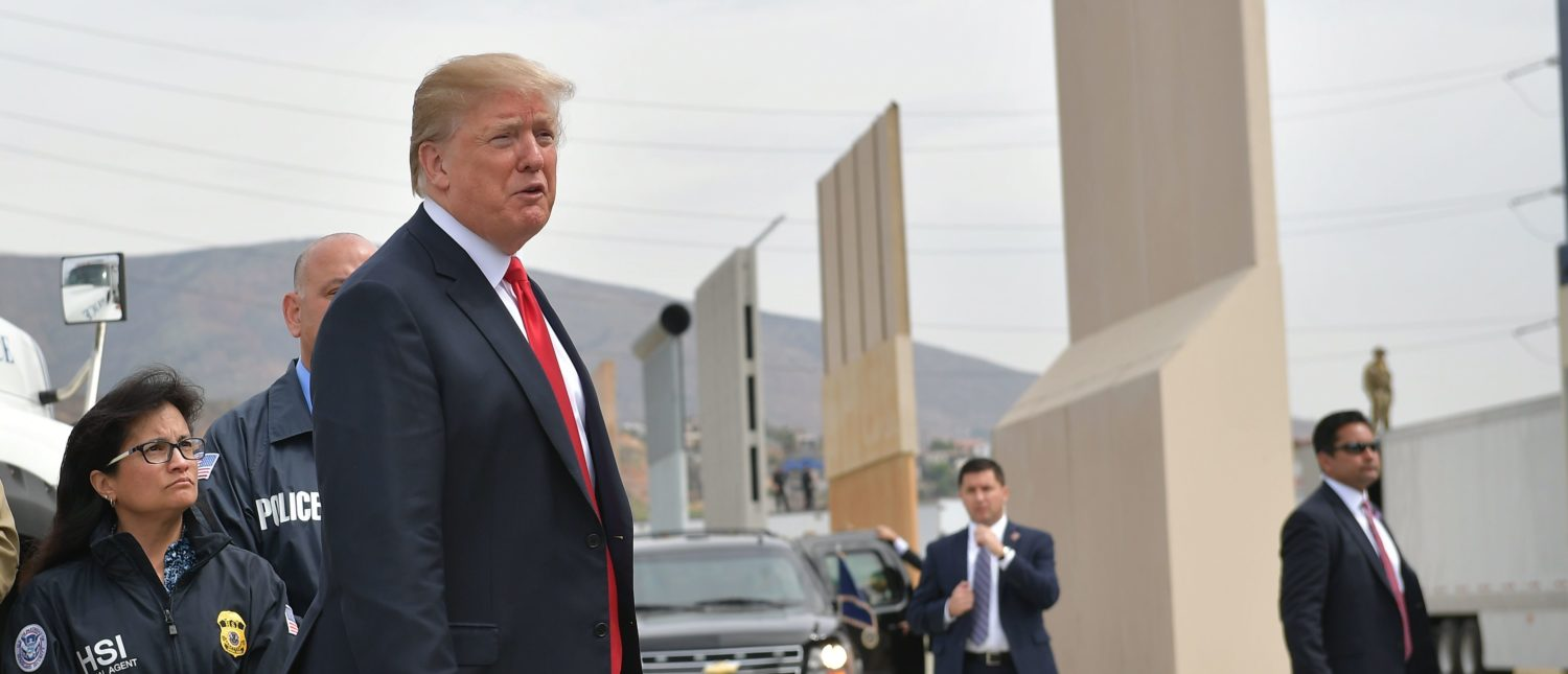 US President Donald Trump inspects border wall prototypes in San Diego, California on March 13, 2018. (Photo: MANDEL NGAN/AFP/Getty Images)
