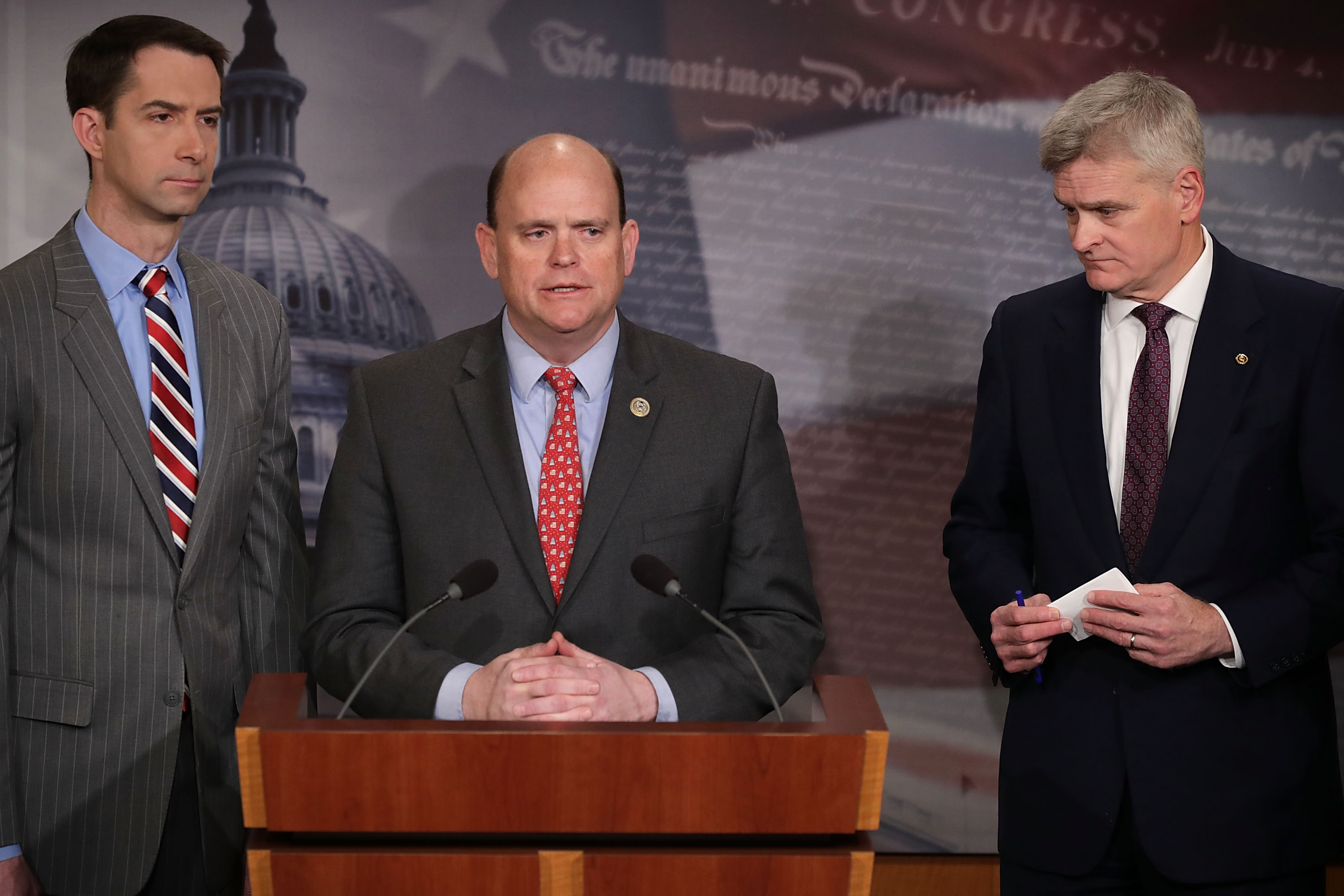 U.S. Rep. Tom Reed (R-NY) (C) speaks to reporters during a news conference with Sens. Tom Cotton (R-AR) (L) and Bill Cassidy (R-LA) at the U.S. Capitol March 22, 2018 in Washington, DC. Chip Somodevilla/Getty Images