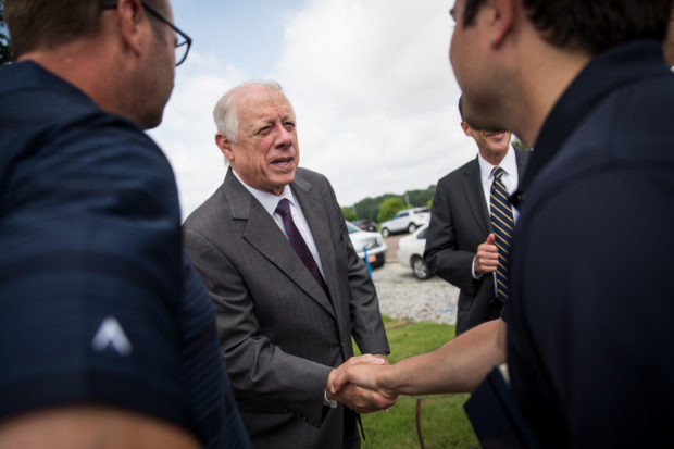 HUMBOLDT, TN - MAY 30: Democratic candidate for U.S. Senate and former governor of Tennessee Phil Bredesen greets Tyson Foods employees at a groundbreaking event for a new Tyson Foods chicken processing plant, May 30, 2018 in Humboldt, Tennessee. Recent polling shows a close race between Bredesen and U.S. Rep. Marsha Blackburn (R-TN). The new $300 million plant is expected to open in late 2019 and employ upwards of 1,500 people. (Photo by Drew Angerer/Getty Images)