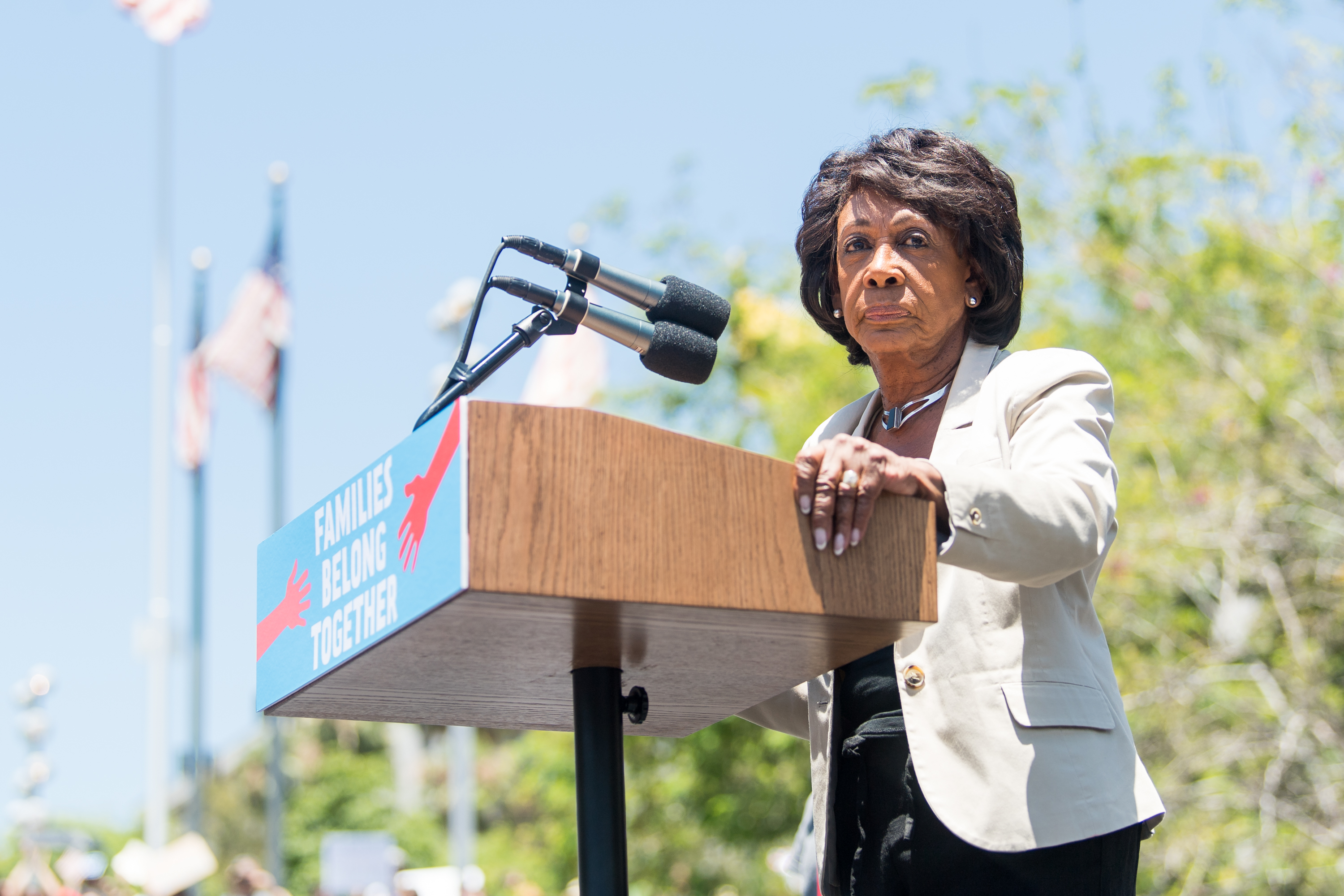 Maxine Waters speaks onstage at 'Families Belong Together - Freedom for Immigrants March Los Angeles' at Los Angeles City Hall on June 30, 2018 in Los Angeles, California. Emma McIntyre/Getty Images for Families Belong Together LA