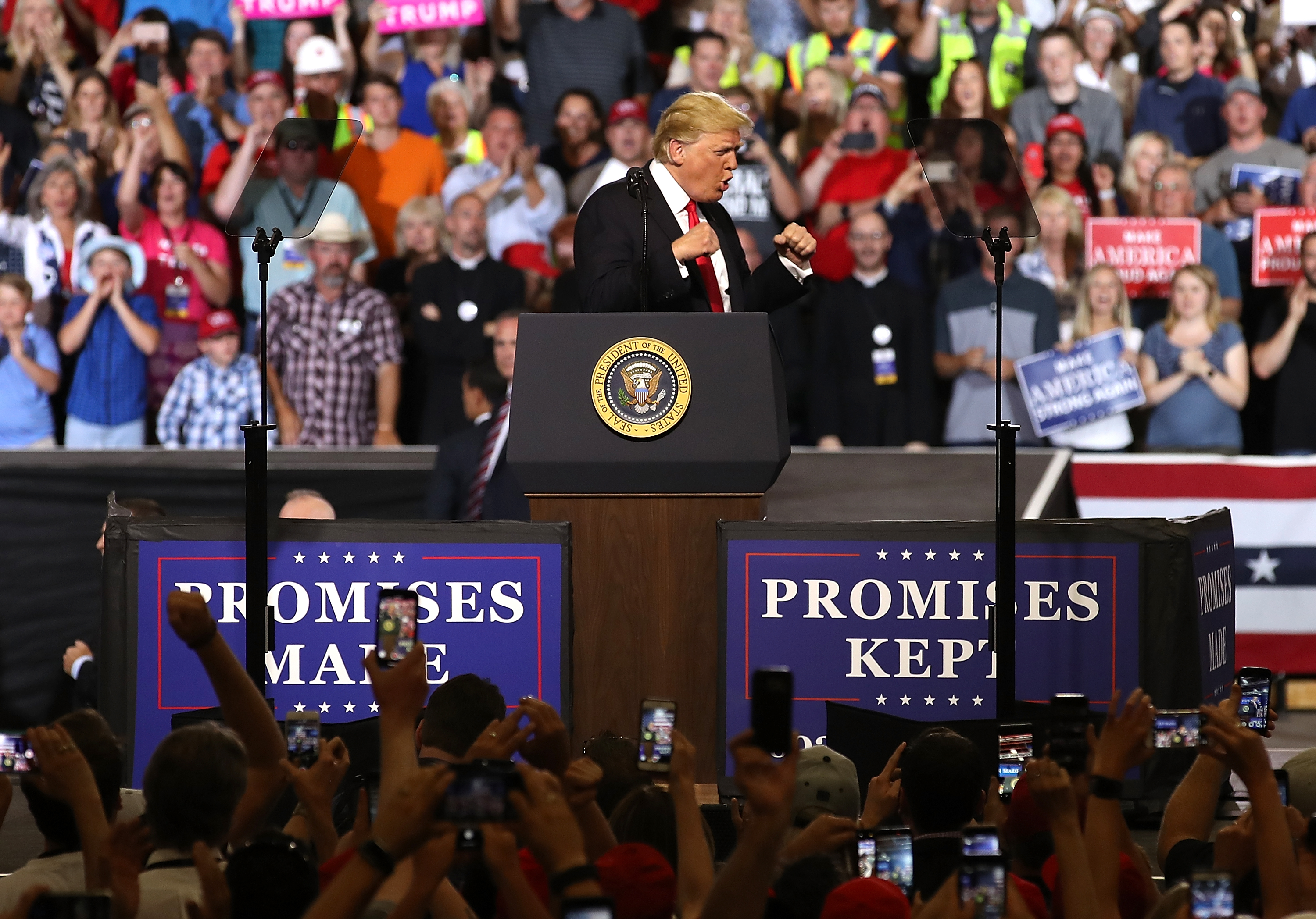 U.S. president Donald Trump greets supporters during a campaign rally at Four Seasons Arena on July 5, 2018 in Great Falls, Montana. Justin Sullivan/Getty Images