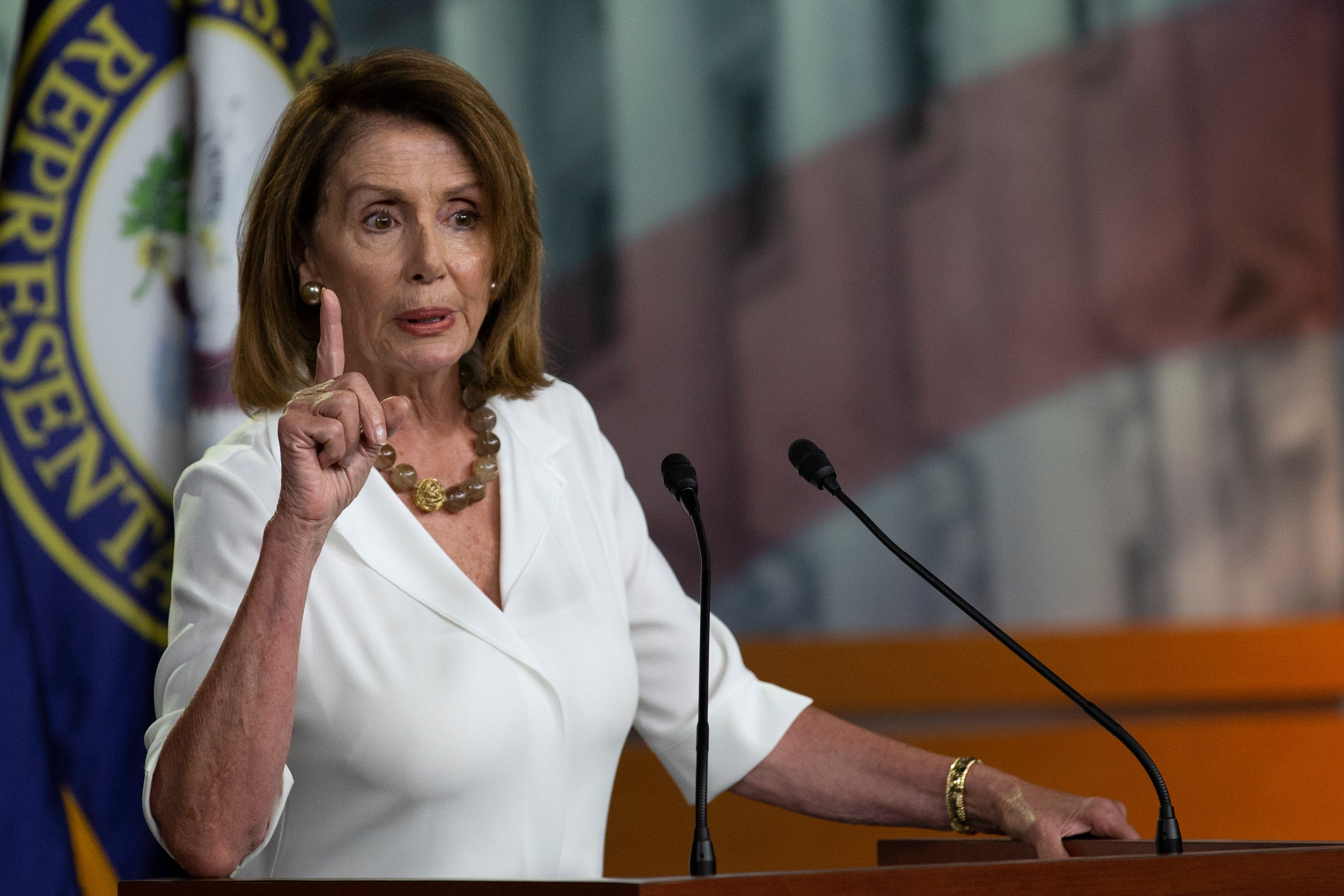 WASHINGTON, DC - JULY 12: House Minority Leader Nancy Pelosi (D-CA) speaks with reporters during her weekly press conference at the Capitol on July 12, 2018 in Washington, DC. (Photo by Alex Edelman/Getty Images)