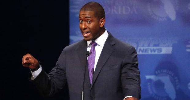 Democrat Andrew Gillum makes a point during his debate with Republican Ron DeSantis at Broward College October 24, 2018 in Davie, Florida. The second and final debate between the two Florida gubernatorial candidates was marked by sharp personal attacks as the November 6 election approaches. (Wilfredo Lee-Pool/Getty Images)