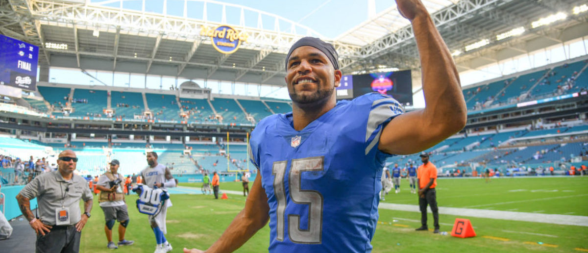 MIAMI, FL - OCTOBER 21: Golden Tate #15 of the Detroit Lions heads to the locker room after the game against the Miami Dolphins at Hard Rock Stadium on October 21, 2018 in Miami, Florida. (Photo by Mark Brown/Getty Images)