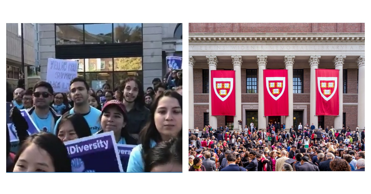 Dueling protests precede Harvard's affirmative action lawsuit. Left, Screenshot/Twitter via Sejal Singh/ Right, SHUTTERSTOCK/ f11photo