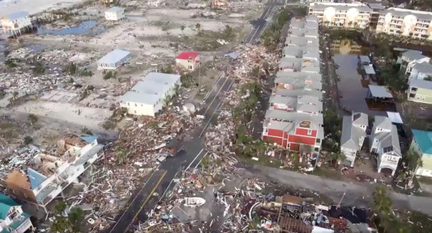 An aerial view shows debris strewn over streets after Hurricane Michael blew through Mexico Beach, Florida