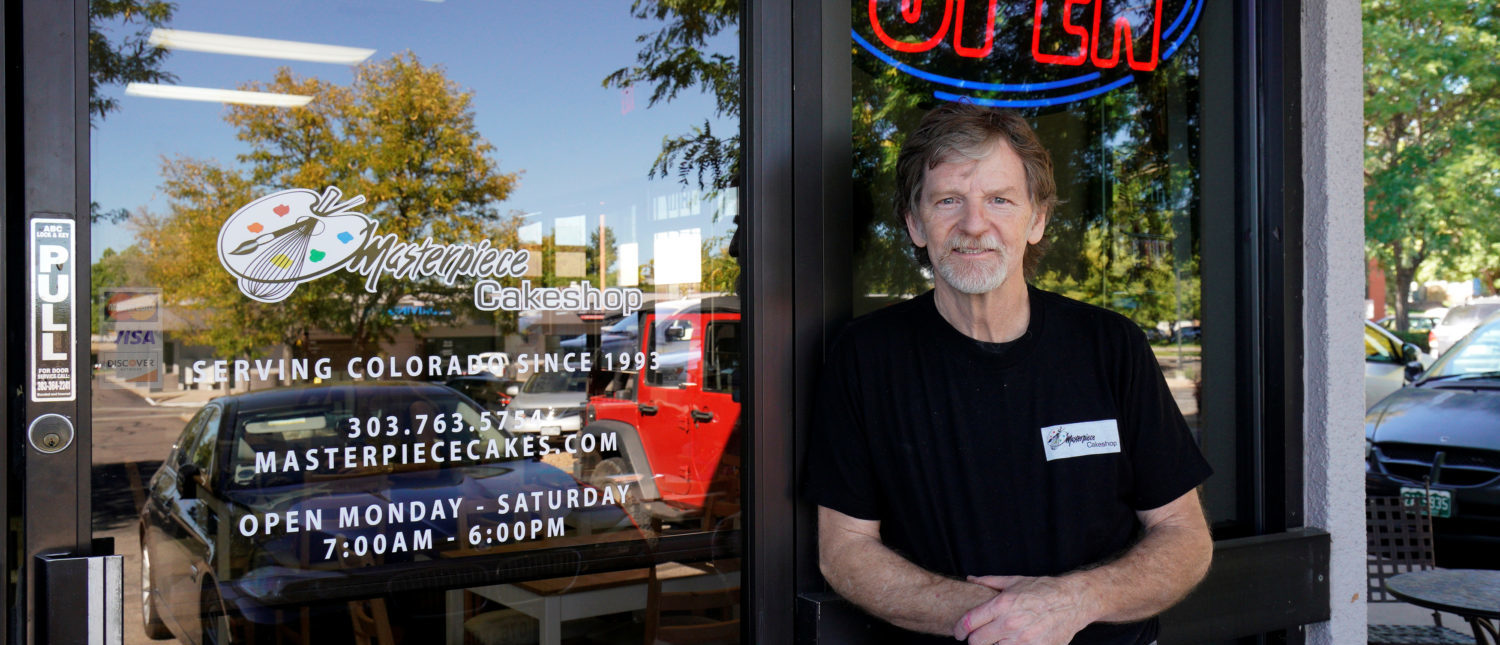 Baker Jack Phillips poses outside his Masterpiece Cakeshop in Lakewood, Colorado on September 21, 2017. REUTERS/Rick Wilking