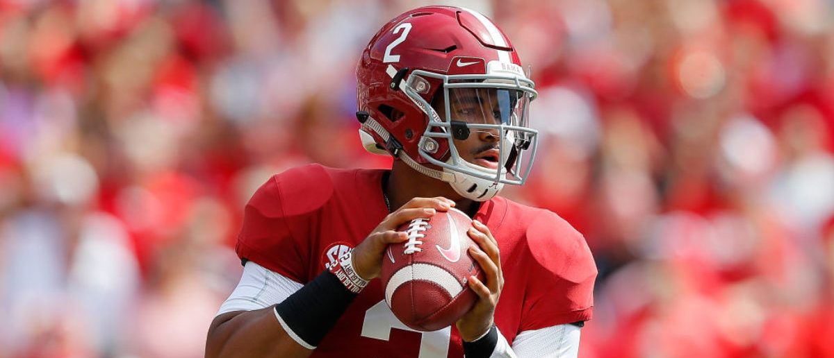 TUSCALOOSA, AL - SEPTEMBER 29: Jalen Hurts #2 of the Alabama Crimson Tide looks to pass against the Louisiana Ragin Cajuns at Bryant-Denny Stadium on September 29, 2018 in Tuscaloosa, Alabama. (Photo by Kevin C. Cox/Getty Images)