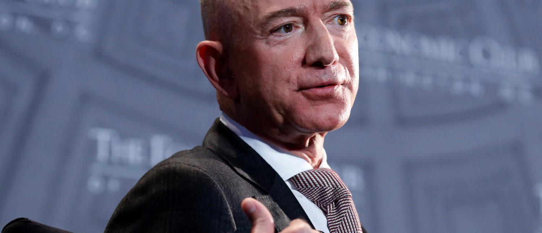 "Jeff Bezos, president and CEO of Amazon and owner of The Washington Post, speaks at the Economic Club of Washington D.C.'s ""Milestone Celebration Dinner"" in Washington, U.S., Sept. 13, 2018. REUTERS/Joshua Roberts"