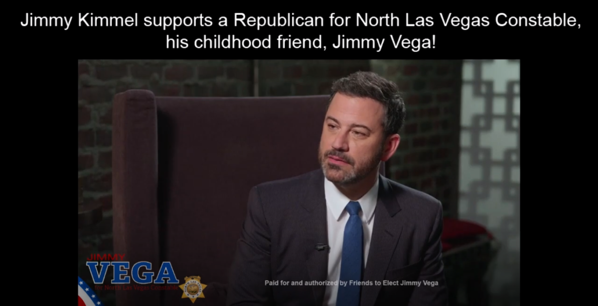 Jimmy Kimmel Interviews His Old Friend Jimmy Vega Who's Running For Constable In North Las Vegas 10-15-18 Review-Journal Screenshot