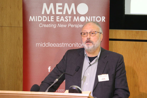 Saudi dissident Jamal Khashoggi speaks at an event hosted by Middle East Monitor in London Britain, September 29, 2018. Picture taken September 29, 2018. Middle East Monitor/Handout via REUTERS/File Photo