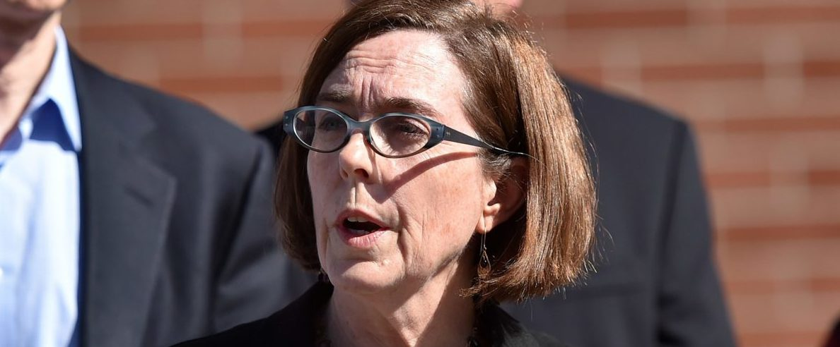 Oregon Gov. Kate Brown reacts during a press conference in Roseburg, Oregon, on Oct. 2, 2015. (Photo: Josh Edelson/AFP/Getty Images)