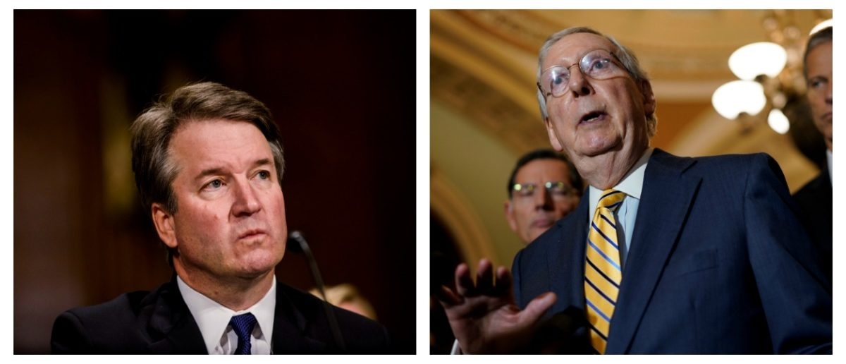 Side-by-side of Brett Kavanaugh and Mitch McConnell. (images individually from Reuters)
