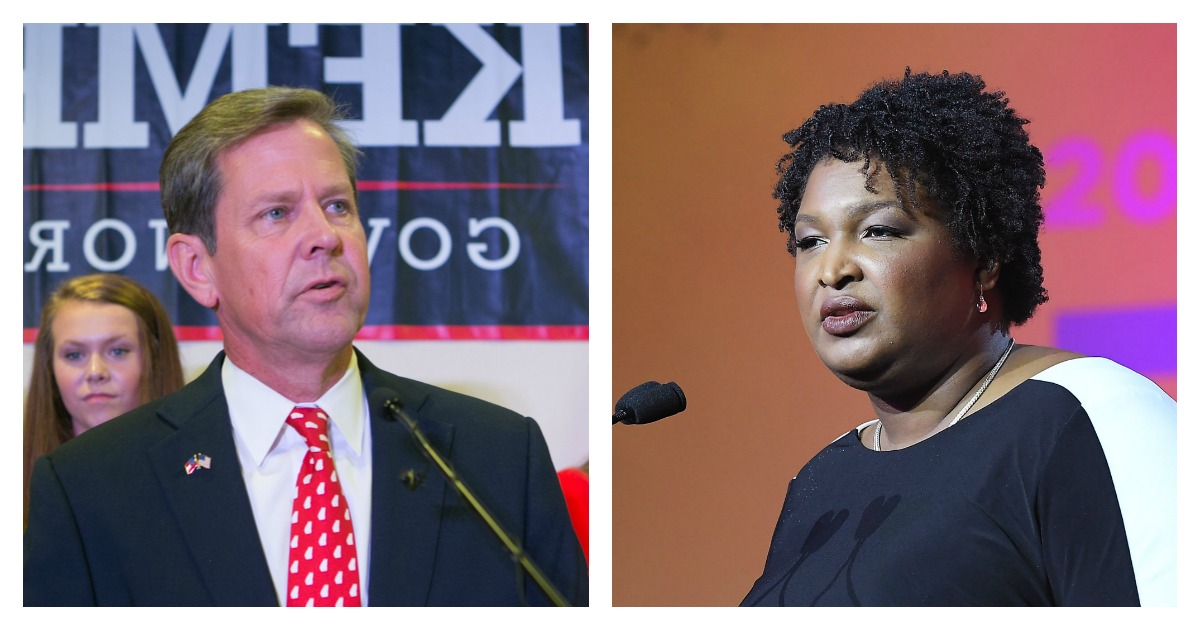 LEFT: Secretary of State Brian Kemp addresses the audience and declares victory during an election watch party on July 24, 2018 in Athens, Georgia. Kemp defeated opponent Casey Cagle in a runoff election for the Republican nomination for the Georgia Governor's race. (Jessica McGowan/Getty Images) RIGHT: Stacey Abrams speaks onstage during the 2018 Essence Festival presented by Coca-Cola at Ernest N. Morial Convention Center on July 7, 2018 in New Orleans, Louisiana. (Paras Griffin/Getty Images for Essence)