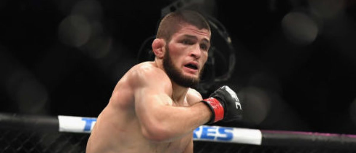 LAS VEGAS, NV - OCTOBER 06: Khabib Nurmagomedov of Russia (L) chases down Conor McGregor of Ireland in their UFC lightweight championship bout during the UFC 229 event inside T-Mobile Arena on October 6, 2018 in Las Vegas, Nevada. (Photo by Harry How/Getty Images)