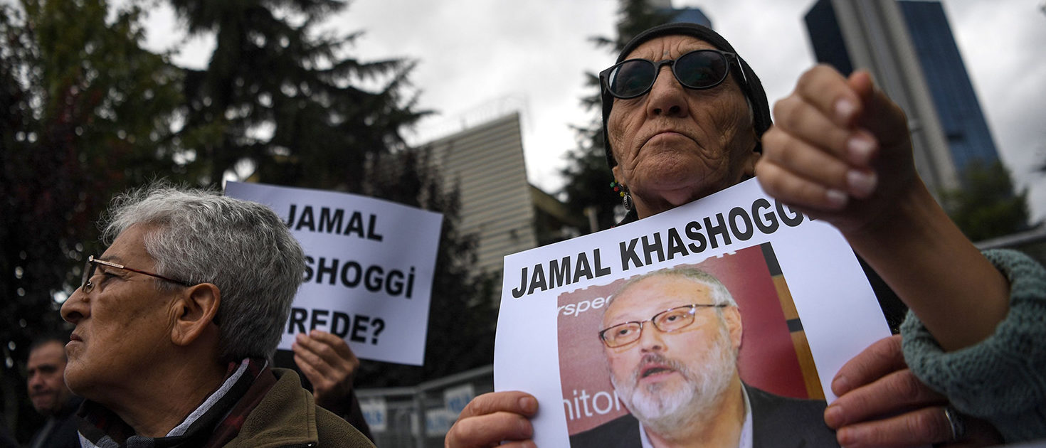 "Protesters hold a portrait of missing journalist and Riyadh critic Jamal Khashoggi reading ""Jamal Khashoggi is missing since October 2"" during a demonstration in front of the Saudi Arabian consulate on Oct. 9, 2018 in Istanbul. - Khashoggi, a Washington Post contributor, vanished last on Oct. 2 after entering the Saudi Arabian consulate to receive official documents ahead of his marriage to a Turkish woman. A Turkish government source told AFP at the weekend that the police believe the journalist ""was killed by a team especially sent to Istanbul and who left the same day"". OZAN KOSE/AFP/Getty Images"