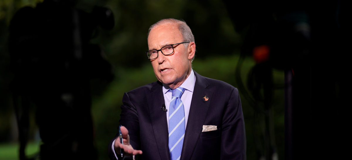 White House economic adviser Larry Kudlow speaks in front of a TV camera at the White House in Washington, U.S., October 5, 2018. REUTERS/Kevin Lamarque