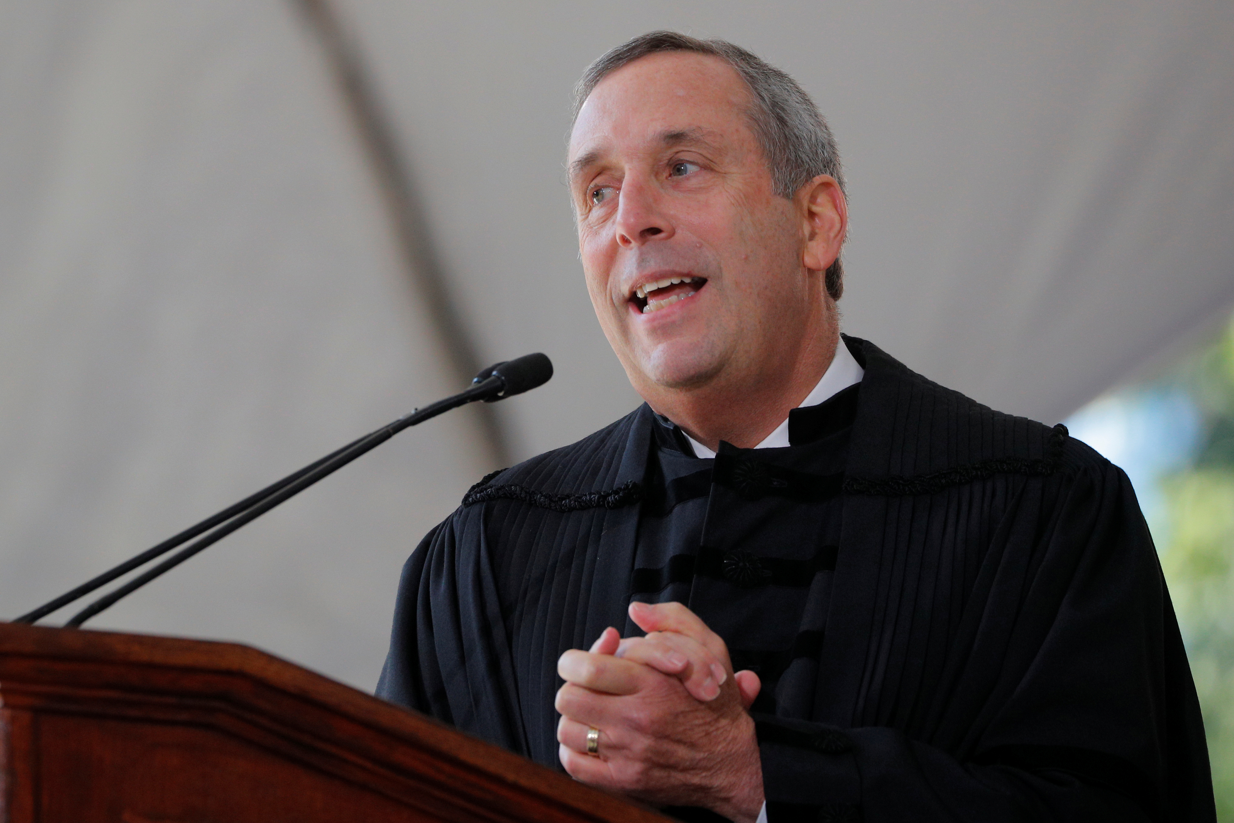 Lawrence Bacow speaks during his inauguration as the 29th President of Harvard University in Cambridge, Massachusetts, U.S., October 5, 2018. REUTERS/Brian Snyder