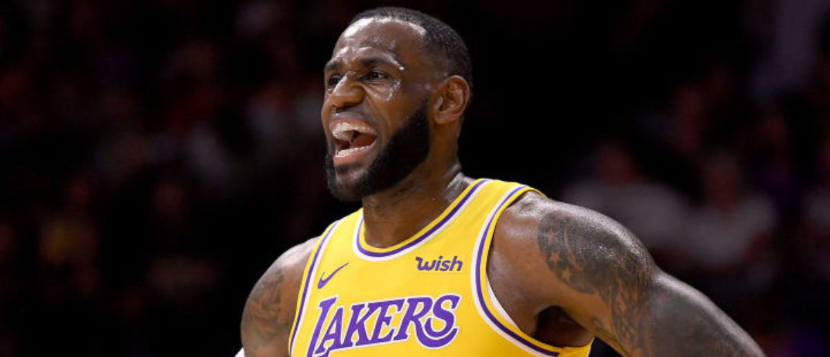 SAN DIEGO, CA - SEPTEMBER 30: LeBron James #23 of the Los Angeles reacts during a preseason game against the Denver Nuggets at Valley View Casino Center on September 30, 2018 in San Diego, California. (Photo by Harry How/Getty Images)