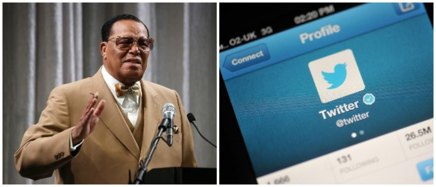 Louis Farrakhan and Twitter (LEFT: Mark Wilson/Getty Images, RIGHT: Bethany Clarke/Getty Images)