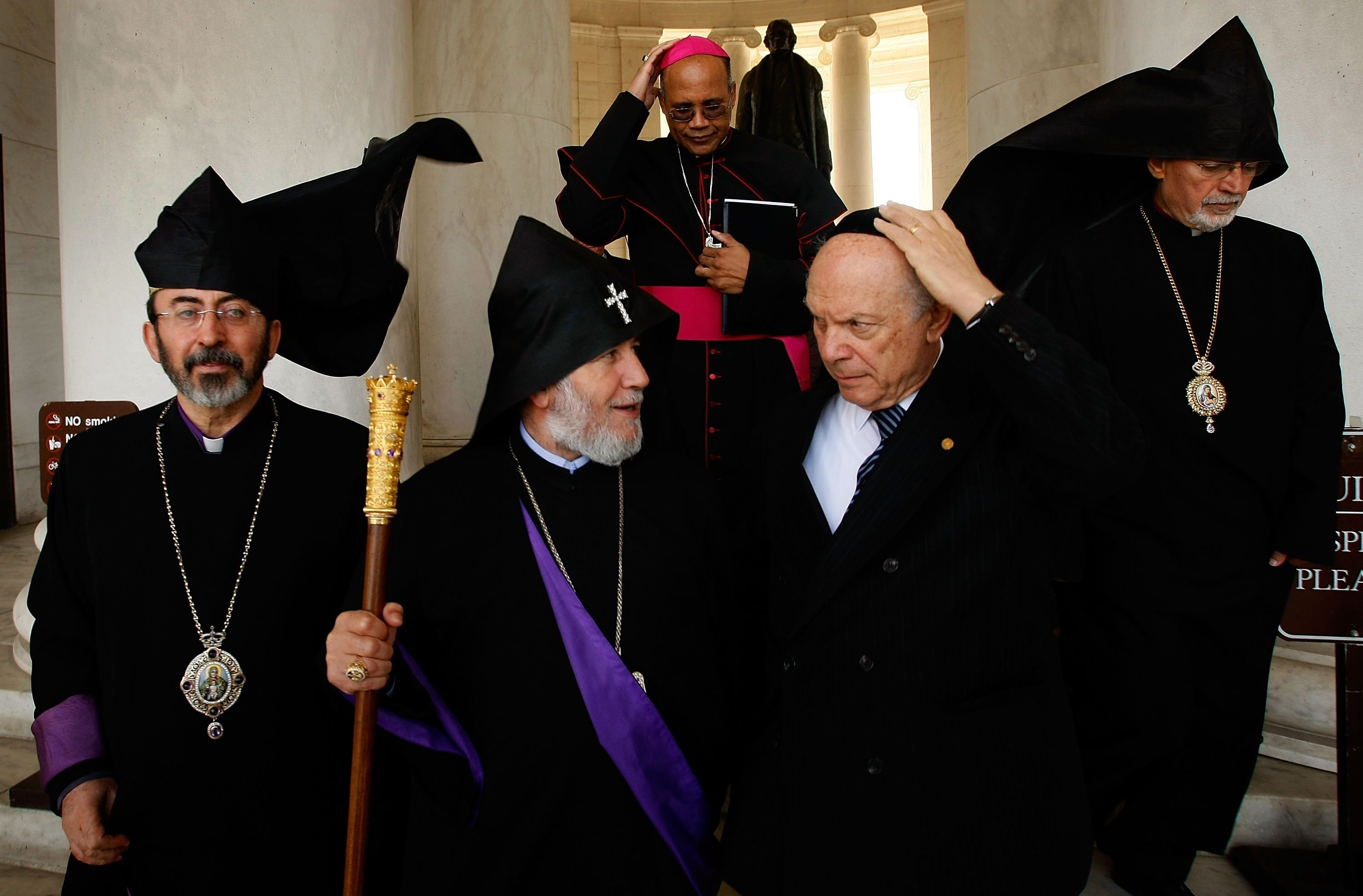 WASHINGTON - OCTOBER 11: Catholicos Karekin II (2nd L), Supreme Patriarch and Catholicos of All Armenians meets with religious leaders of other faiths during a brief tour of the Jefferson Memorial October 11, 2007 in Washington, DC. During the final day of his tour to the United States, Catholicos Karekin II delivered a speech in front of the memorial on religious freedoms. Also pictured are Rabbi David Saperstein (2nd R) of the Religious Action Center and Bishop Martin Holley of the Archdiocese of Washington (C). (Photo by Win McNamee/Getty Images)