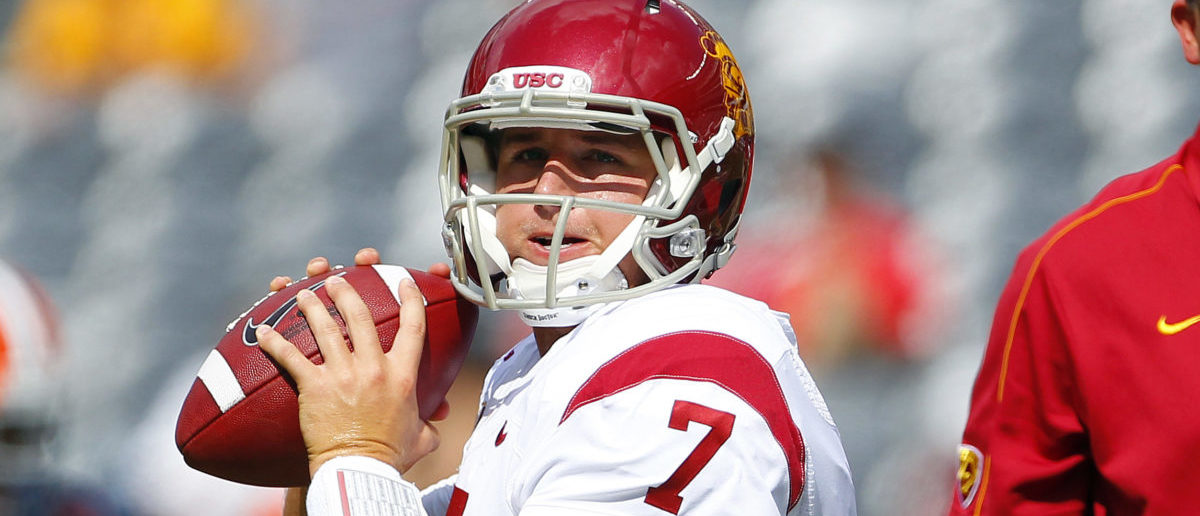 EAST RUTHERFORD, NJ - SEPTEMBER 08: Matt Barkley #7 of the USC Trojans warms up before the start of their game against the Syracuse Orange at MetLife Stadium on September 8, 2012 in East Rutherford, New Jersey. (Photo by Rich Schultz /Getty Images)