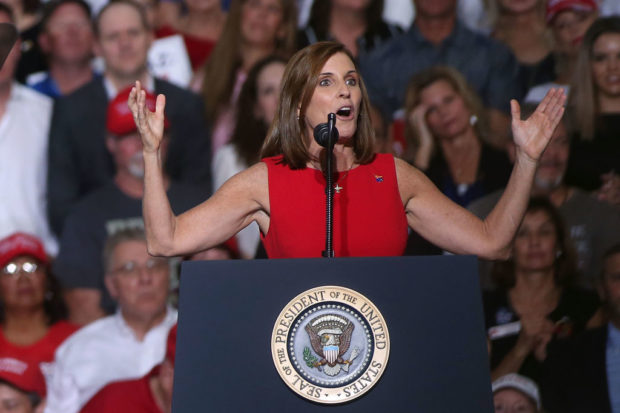 MESA, AZ - OCTOBER 19: U.S. Senate candidate Martha McSally, R-Ariz, speaks during a rally for President Donald Trump at the International Air Response facility on October 19, 2018 in Mesa, Arizona. (Ralph Freso/Getty Images)