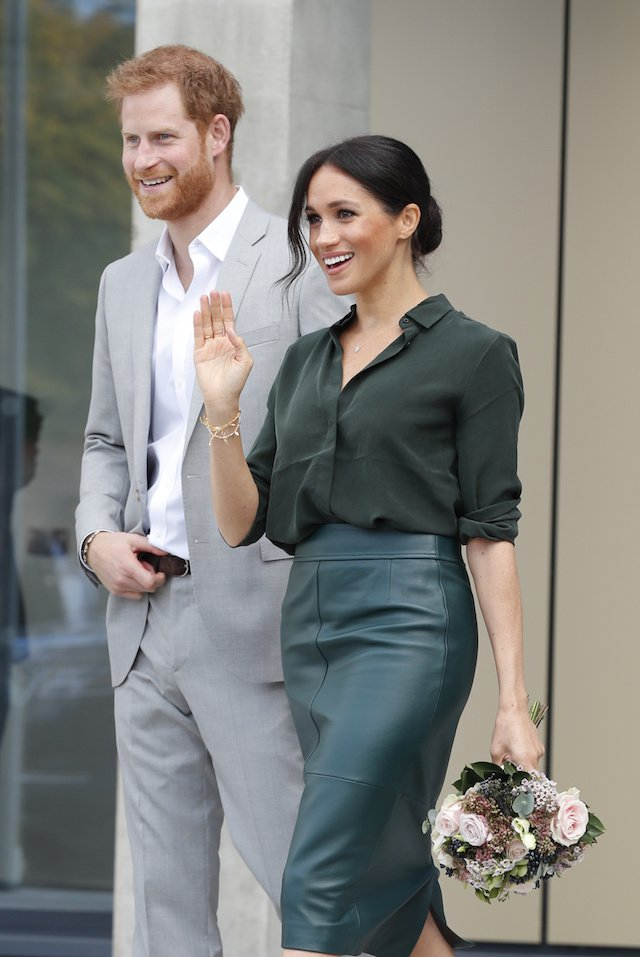 Britain's Prince Harry and Meghan, Duchess of Sussex leave after a visit to the University of Chichester Tech Park, in Chichester, Britain October 3, 2018. Heathcliff O'Malley/pool via Reuters
