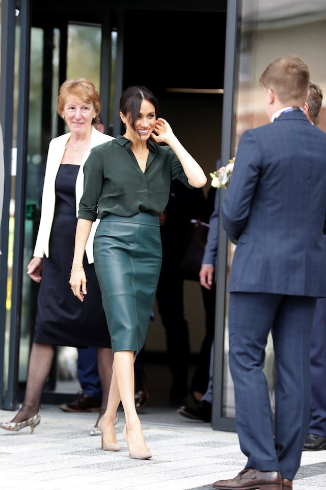 Britain's Meghan, Duchess of Sussex leaves after a visit to the University of Chichester Tech Park, in Chichester, Britain October 3, 2018. Heathcliff O'Malley/pool via Reuters