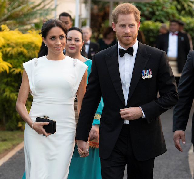 Meghan, Duchess of Sussex and Prince Harry, Duke of Sussex arrive to attend a state dinner in Nuku'alofa, Tonga, October 25, 2018. Paul Edwards/Pool via REUTERS