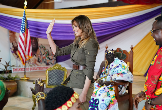U.S. first lady Melania Trump waves as she meets with Fante chiefs to gain permission to visit Cape Coast castle, Ghana, October 3, 2018. REUTERS/Carlo Allegri