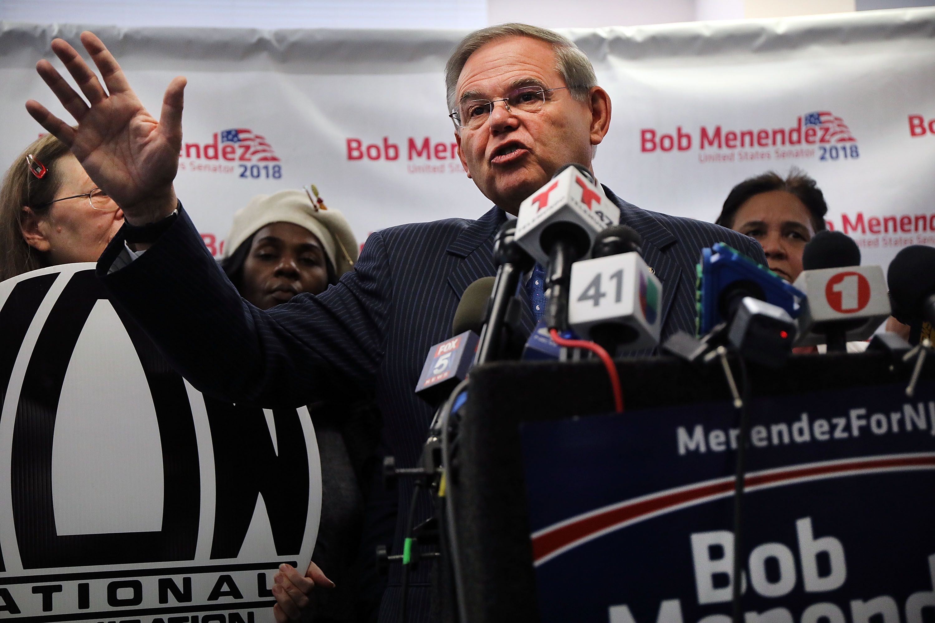 Surrounded by female supporters, New Jersey Senator Robert Menendez speaks at a news conference to address accusations by his Republican opponent that he slept with underage sex workers during trips to the Dominican Republic on October 17, 2018 in Hackensack, New Jersey. The claims originally emerged before Menendez was re-elected to the Senate in 2012 and despite an extensive investigation by the FBI and reporters, the accusations have never been substantiated. A million-dollar ad campaign launched on Monday by opponent, Republican Senate candidate nomineeÊBob Hugin, have used the unproven allegations against Menendez. (Spencer Platt/Getty Images)
