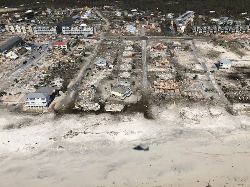 Damaged and destroyed buildings are seen in an aerial photograph, taken during a post-Hurricane Michael flight by a U.S. Coast Guard MH-65 helicopter over Mexico Beach, Florida, October 11, 2018. U.S. Coast Guard/Petty Officer 1st Class Colin Hunt/Handout via REUTERS