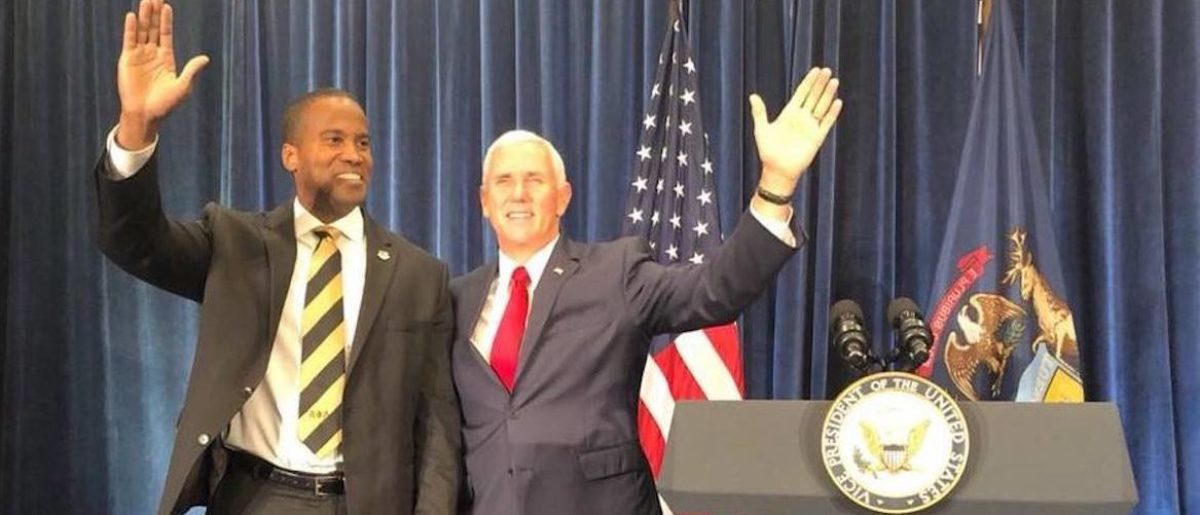 Mike Pence and Michigan Senate candidate John James (Photo Obtained By TheDCNF)