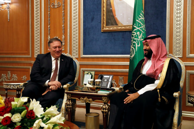 U.S. Secretary of State Mike Pompeo meets with the Saudi Crown Prince Mohammed bin Salman during his visits in Riyadh