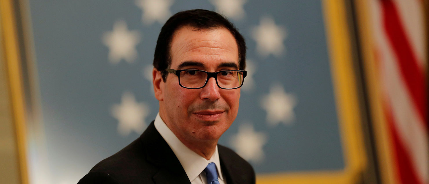 U.S. Treasury Secretary Steven Mnuchin arrives at a White House reception for Congressional Medal of Honor recipients in the East Room of the White in Washington, U.S., September 12, 2018. REUTERS/Carlos Barria/File Photo
