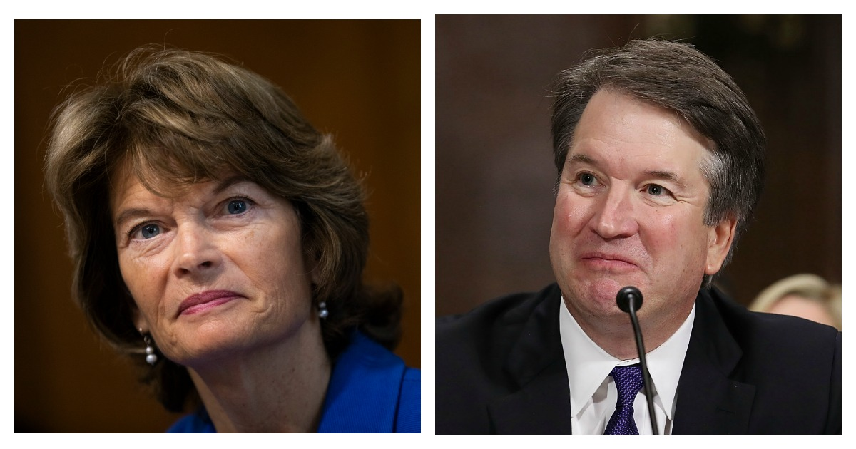 LEFT: Sen. Lisa Murkowski (R-AK) chairs a hearing of the Senate Energy and Natural Resources Committee on Capitol Hill, September 25, 2018 in Washington, DC. (Drew Angerer/Getty Images) RIGHT: Judge Brett Kavanaugh testifies to the Senate Judiciary Committee during his Supreme Court confirmation hearing in the Dirksen Senate Office Building on Capitol Hill September 27, 2018 in Washington, DC. (Win McNamee/Getty Images)
