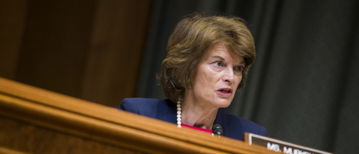 WASHINGTON, DC - MAY 09: Sen. Lisa Murkowski (R-AK) speaks during a Senate Appropriations Subcommittee on Defense hearing to review the FY2019 budget request for the U.S. Dept. of Defense on Capitol Hill on May 9, 2018 in Washington, DC. Chairman of the Joint Chiefs of Staff Gen. Joseph Dunford, Secretary of Defense James Mattis, and Under Secretary of Defense Chief Financial Officer David Norquist testified. (Photo by Zach Gibson/Getty Images)