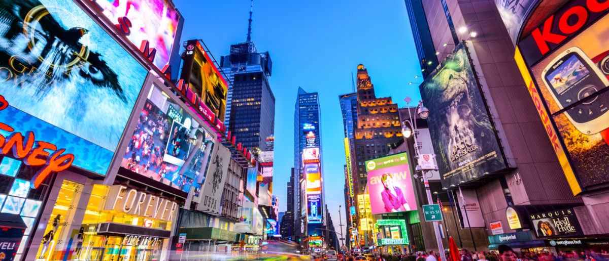 NEW YORK CITY - APRIL 9, 2013: Times Square crowds and traffic at night. The site is regarded as the world's most visited tourist attraction with nearly 40 million visitors annually. (Sean Pavone, SHUTTERSTOCK)