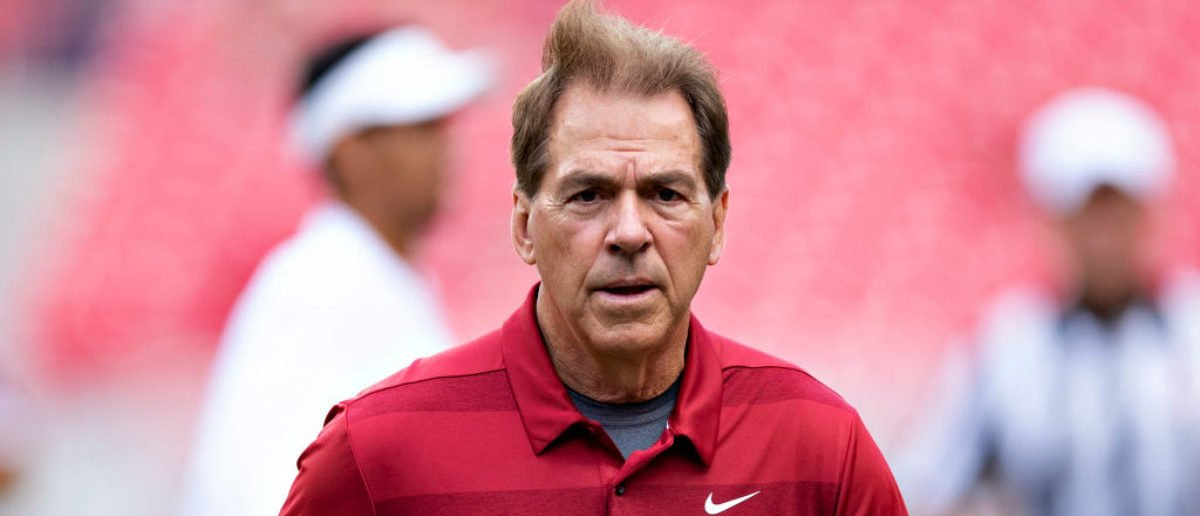 FAYETTEVILLE, AR - OCTOBER 6: Head Coach Nick Saban of the Alabama Crimson Tide jogs off the field before a game against the Arkansas Razorbacks at Razorback Stadium on October 6, 2018 in Tuscaloosa, Alabama. (Photo by Wesley Hitt/Getty Images)