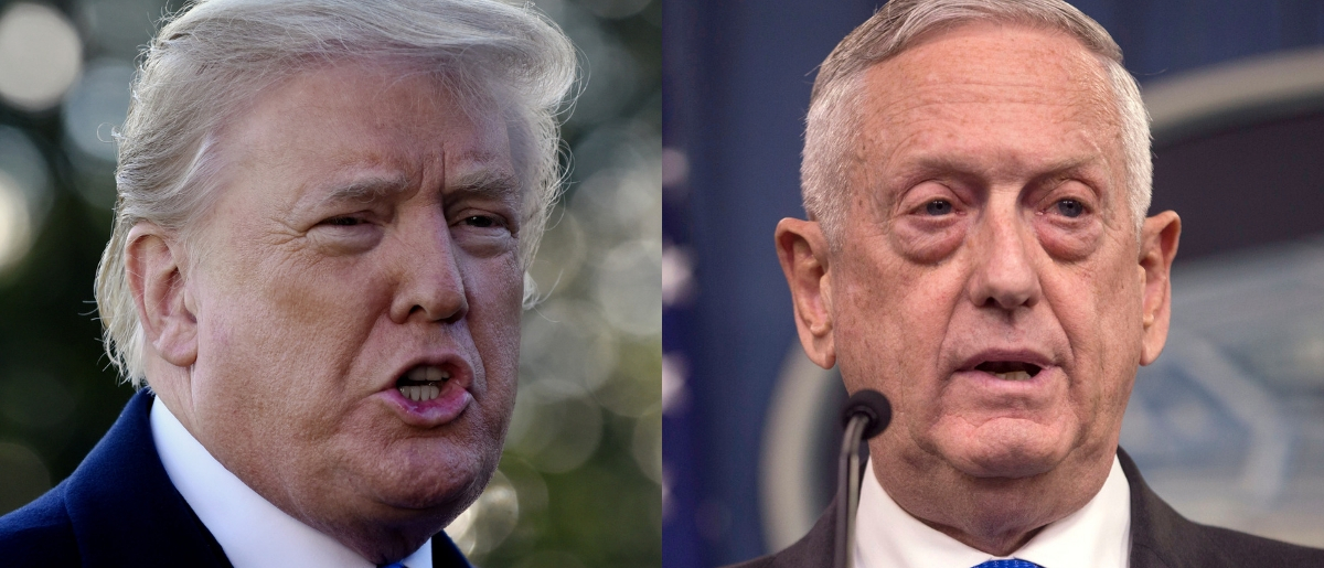 """President Donald Trump discussed his Defense Secretary James Mattis (right) during an interview with """"60 Minutes"""" set to air Oct. 14, 2018. Olivier Douliery - Pool/Getty Images and Zach Gibson/Getty Images"""