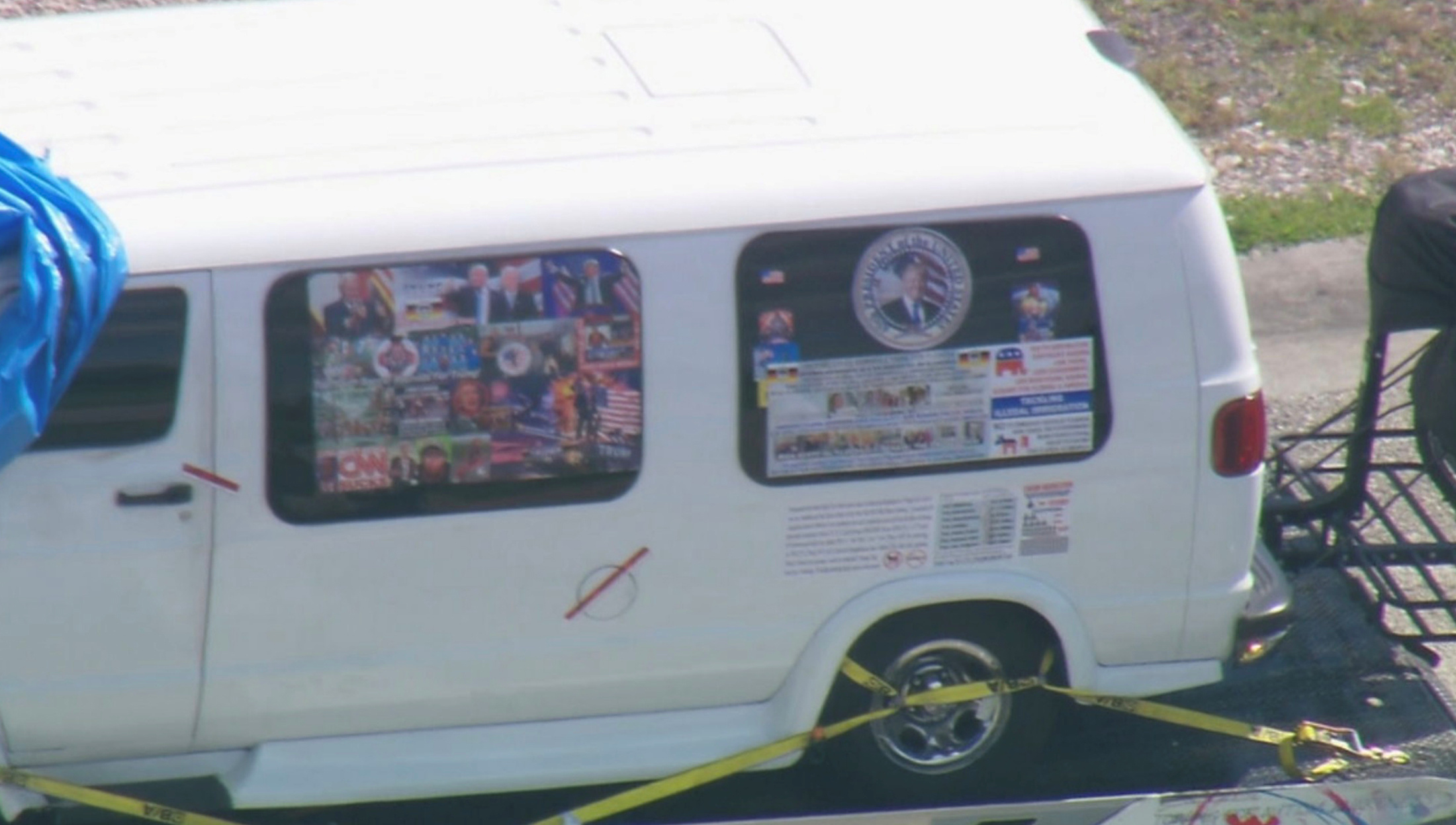 A van which was seized during an investigation into a series of parcel bombs is transported to an FBI facility in Miramar, Florida October 26, 2018 in a still image from video. WPLG/Local10.com/Handout via REUTERS