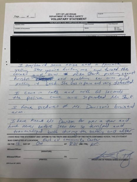 A witnesses police report (Photo obtained by TheDCNF)