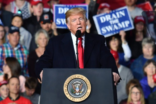 "US President Donald Trump speaks during a ""Make America Great"" rally in Missoula, Montana, on October 18, 2018. (Photo by Nicholas Kamm / AFP) (Photo credit should read NICHOLAS KAMM/AFP/Getty Images)"