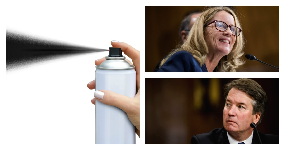 A Kavanaugh accuser quote was spray-painted on Yale Law School's entrance, though it was later removed. Left, SHUTTERSTOCK/ Vladnik/ Top, Pool via REUTERS/ Tom Williams/ Bottom, Pool via REUTERS/Gabriella Demczuk